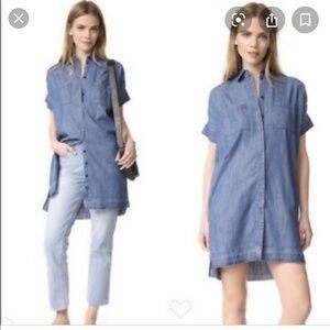 Madewell Drop Hem Denim Chambray Shirt Dress